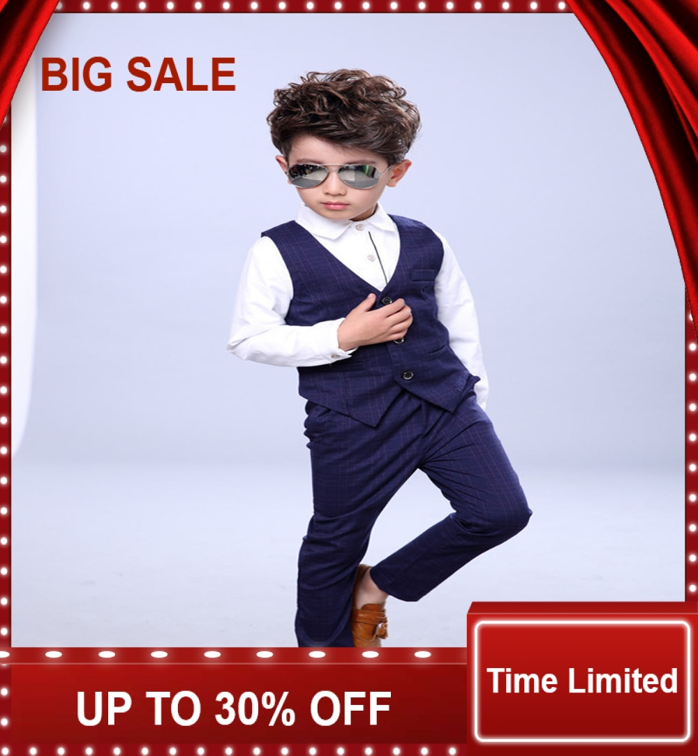 kids sets newly design vest +shirts+pants suits children clothing baby outfits boys