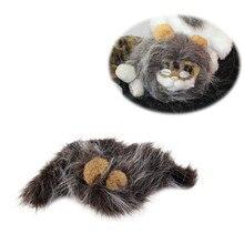 698294dcd Pet Cat Dog Emulation Lion Hair Mane Ears Head Cap Autumn Winter Dress Up  Costume Muffler Scarf