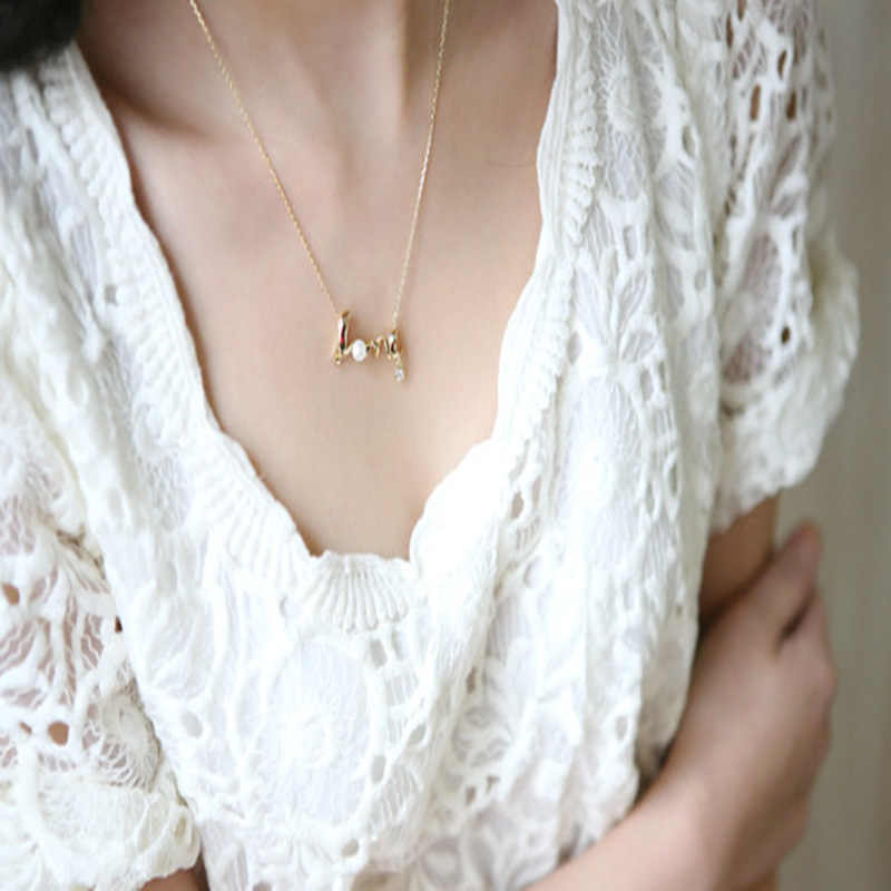 2018 na moda pérola pingente de ouro colar feminino carta cristal prata colares feminino gargantilha colar corrente jóias femininas coupl
