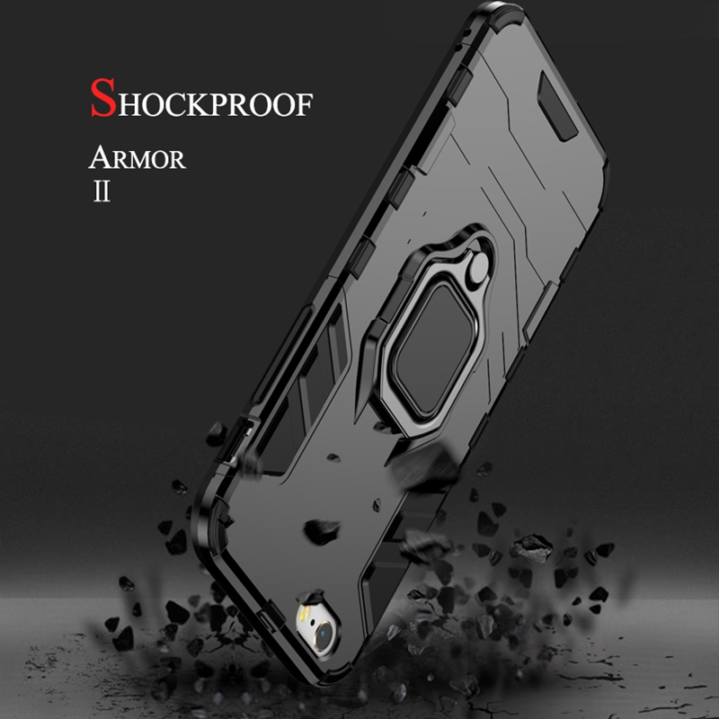 KISSCASE Shockproof Phone Case For Xiaomi Redmi Note 7 Mi Play Finger Ring Cases For Xiaomi Mi Play Back Cover Fundas Capa in Fitted Cases from Cellphones Telecommunications