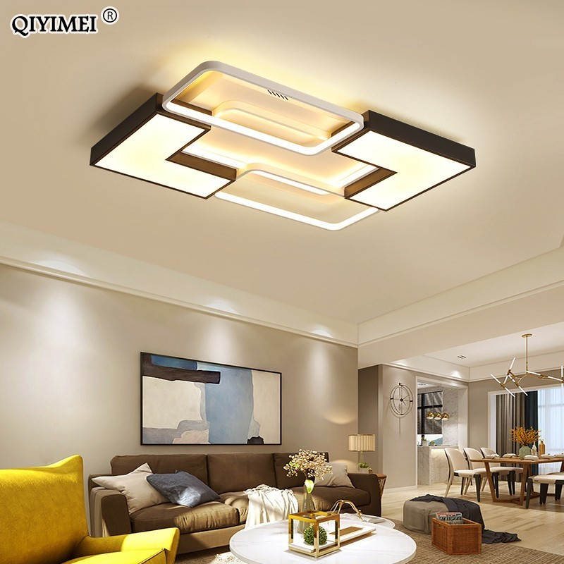 Modern LED Ceiling Lamp With remote Control White with black Body Dimmable With warm or cool