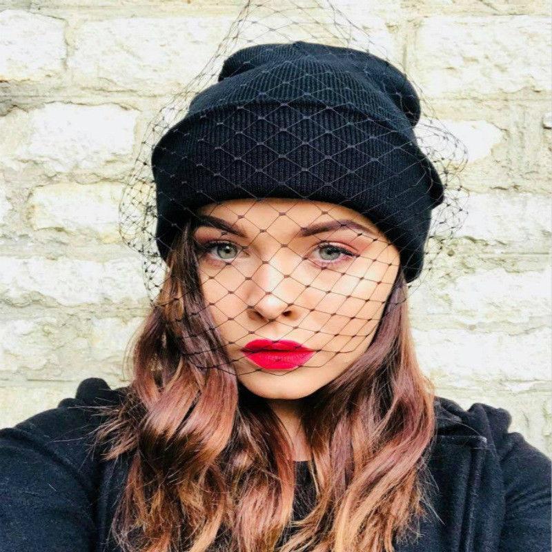 2019 New Women Girls Fashion celebrity style Winter Warm Retro Ski knit  veil Mesh net Hats Beanie Cap e8e73fb2e23