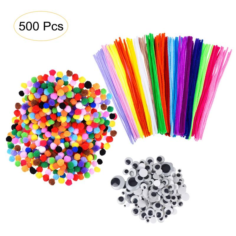 500PCS Kids DIY Craft Supplies Kit Including 100 PCS Colorful Chenille Stems 150PCS 3 Size Wiggle Googly Eyes 250PCS Pom Poms