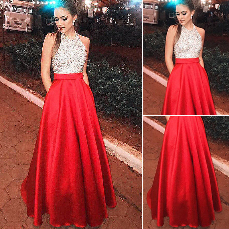Long Elegant Sequin Patchwork Formal Party Ball Gown Prom