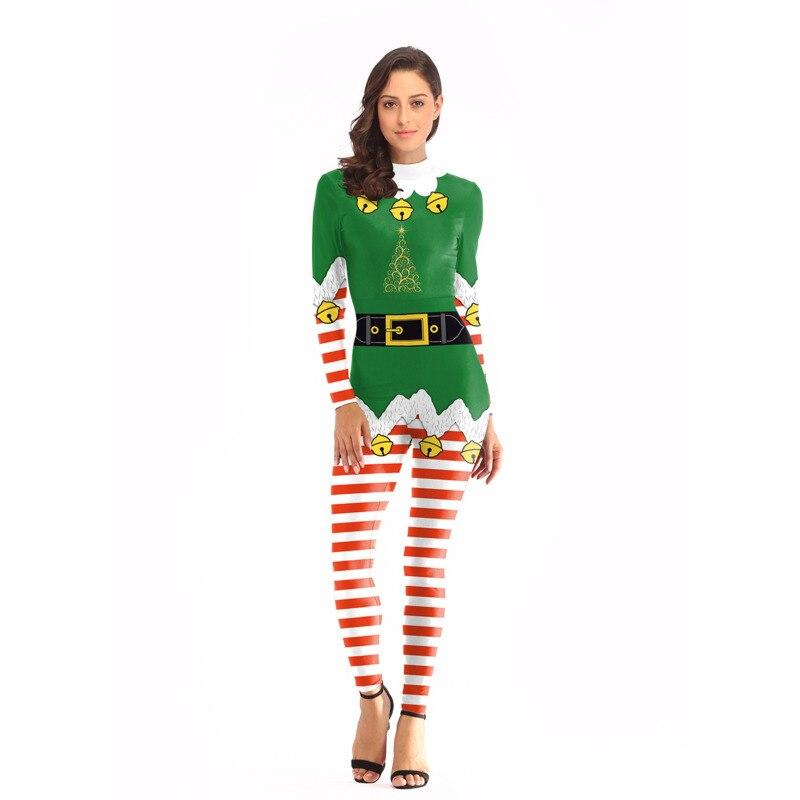 Womens Christmas Tree Snowman Santa Claus Romper Xmas Cosplay Costume Jumpsuits Clothes Designer 3D Bodysuit Party