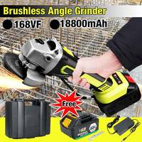 1Pcs Brushless Angle Grinder with Adapter 100mm Angle Grinding Cutting Machine Kit Box 1300W 18V