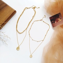 цена на Gold Alloy Round Pendant Necklace Simple Long Chain Coin Necklace Multilayer Carved Coin Choker Necklace