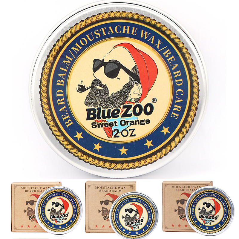 1pcs/set Healthy Organic Beard Wax Natural Moustache Cream Oil Beard Moisturizing Balm Sweet Orange Sandalwood Eucalyptus Random