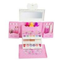 Simulation Dressing Table Makeup Box Toy Cosmetic Set for Girls Eye Shadow Nail Polish Lip Balm Water Powder for Kids gift