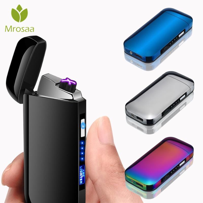 LED Schalter Doppel Arc Plasma Leichter USB Aufladbare Winddicht Flammenlose Elektrische Feuerzeuge Metall Rauchen Zigarette Feuerzeuge
