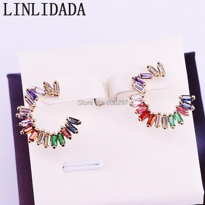 8Pair New Style C Shape Rainbow CZ Stud Earrings for Women Fashion Multi Color Zirconia Earrings
