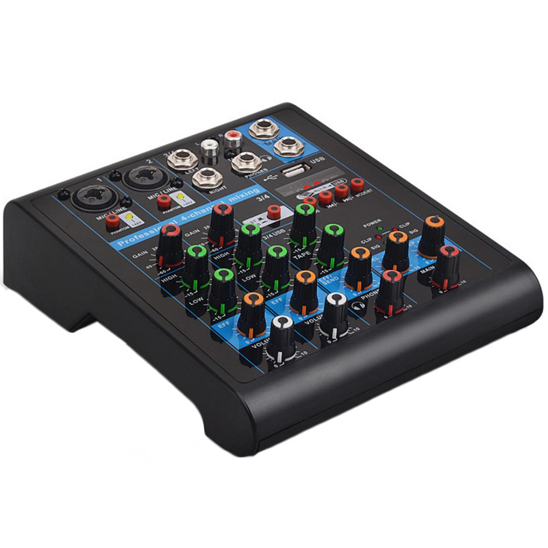 Eu Plug Professional 4-Channel Small Bluetooth Mixer With Reverb Effect Home Karaoke Usb Live Stage Karaoke Performance ConferEu Plug Professional 4-Channel Small Bluetooth Mixer With Reverb Effect Home Karaoke Usb Live Stage Karaoke Performance Confer