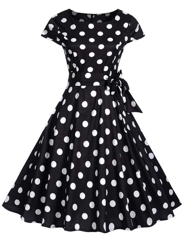 Wipalo 1950s Retro Dresses Women Polka Dots Bowknot A Line Pin Up O-Neck Elegant Tea Rockabilly Vintage Women Summer Dress 2018
