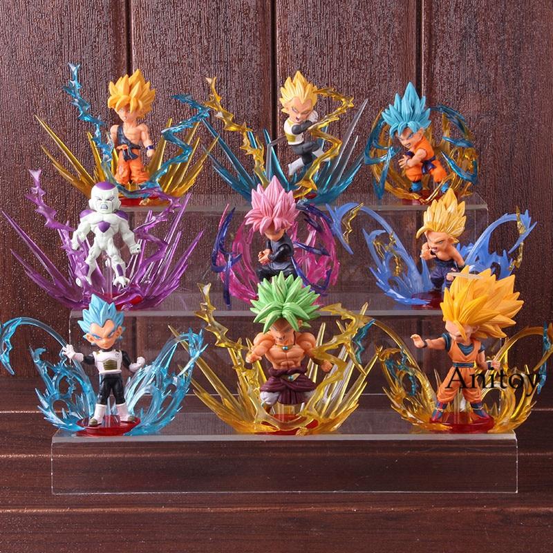 Dragon Ball rafale Broli Frieza Super Saiyan Son Goku Gohan végéta Broly Dragon Ball figurine d'action à collectionner modèle jouet 9 pièces/ensemble