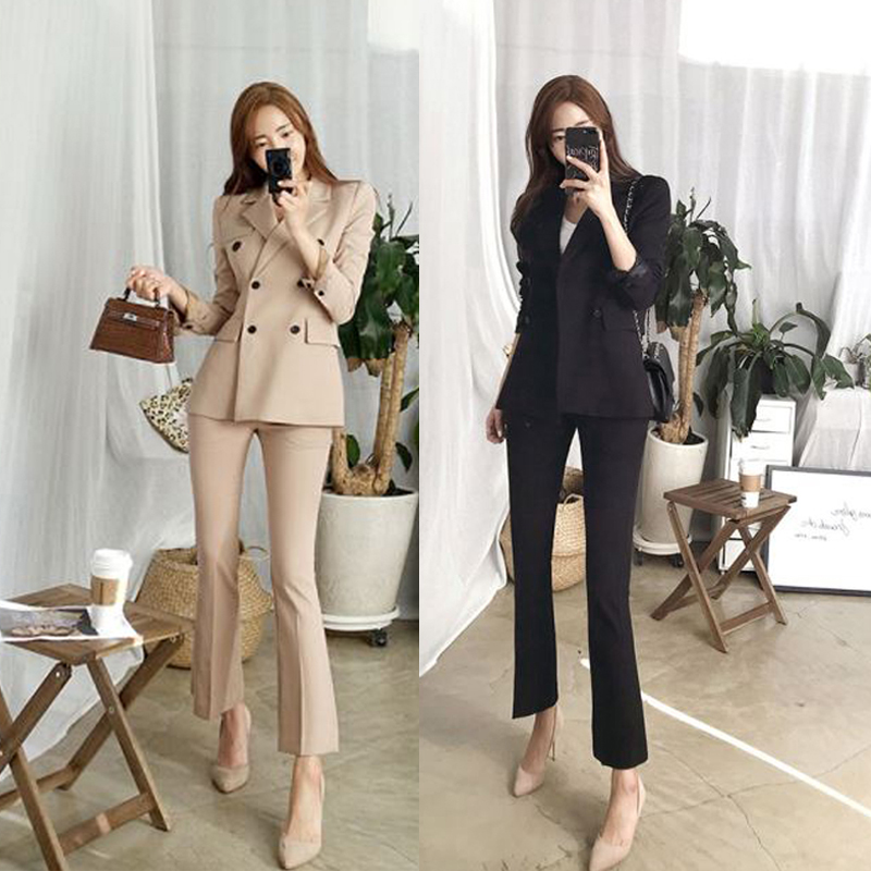 2 piece set women Suit femal new style high quality business solid color European style casual office lady