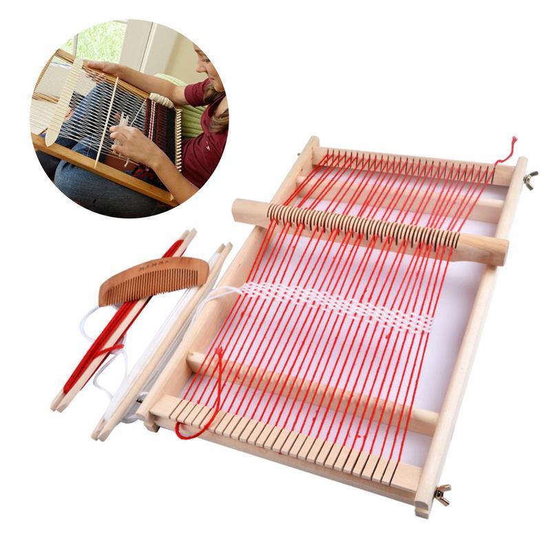 Wooden Sewing Machine Weaving Loom Kit Handmade Woven Suit Wooden Multifunctional Loom DIY Wool Hook Looms Household Supplies
