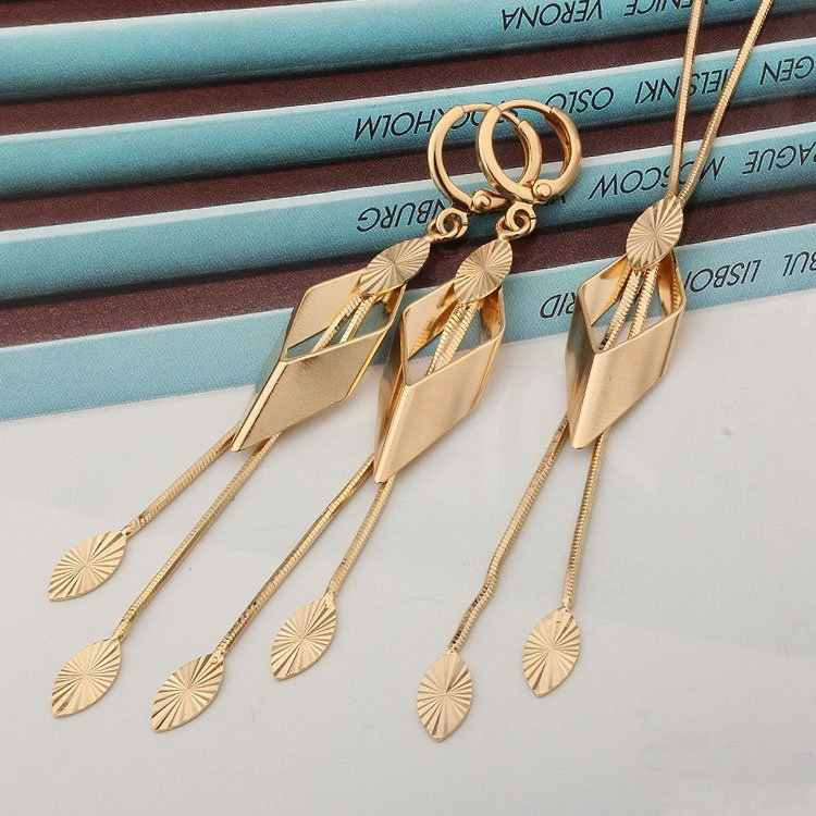 Африканский золото ювелирные комплекты dubai Цепочки и ожерелья серьги Для женщин Свадебные украшения в эфиопском стиле Jewellery Joyas Mujer Brinco Bijoux Femme Mariage S0130
