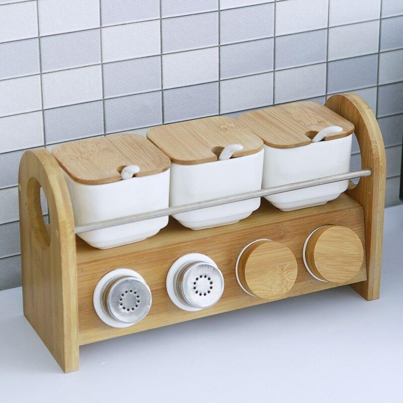 Ustensiles de cuisine créative en céramique boîte à épices pot à épices ménage huile sel poivre assaisonnement boîte combinaison 7 pièces ensemble