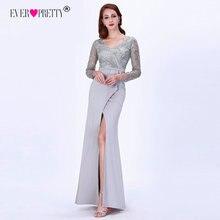 שמלות ערב ארוך 2020 פעם די EZ07698 אלגנטי אפור ארוך שרוול תחרת סאטן בת ים חורף Sparkle צד פורמלי שמלות