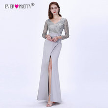 Avondjurken Lange 2020 Ooit Pretty EZ07698 Elegante Grey Lange Mouwen Lace Satin Mermaid Winter Sparkle Formele Partij Jassen
