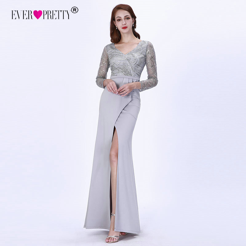 Evening Dresses Long 2020 Ever Pretty EZ07698 Elegant Grey Long Sleeve Lace Satin Mermaid Winter Sparkle Formal Party Gowns