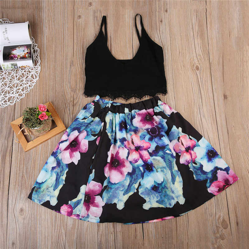 5cb2aa12dc7ab CANIS Family Mommy Mom And me Daughter Matching Clothes Set Girls Dresses  Womens vest Top Floral Skirt Outfits Clothing Summer