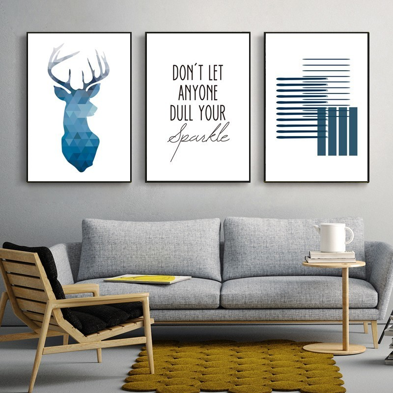 SURE LIFE Abstract Blue Geometric Deer Minimalist Nordic Canvas Paintings Poster Print Wall Art Picture Living Room Home Decor