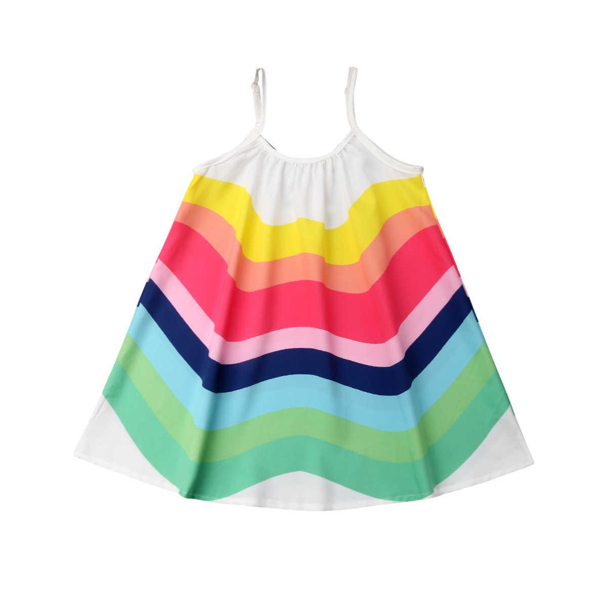 فستان صيفي جديد للأطفال البنات بحمالات موديل 2019 بتصميم قوس قزح فساتين بحمالات ملونة مخططة للشاطئ والحفلات 1-6T