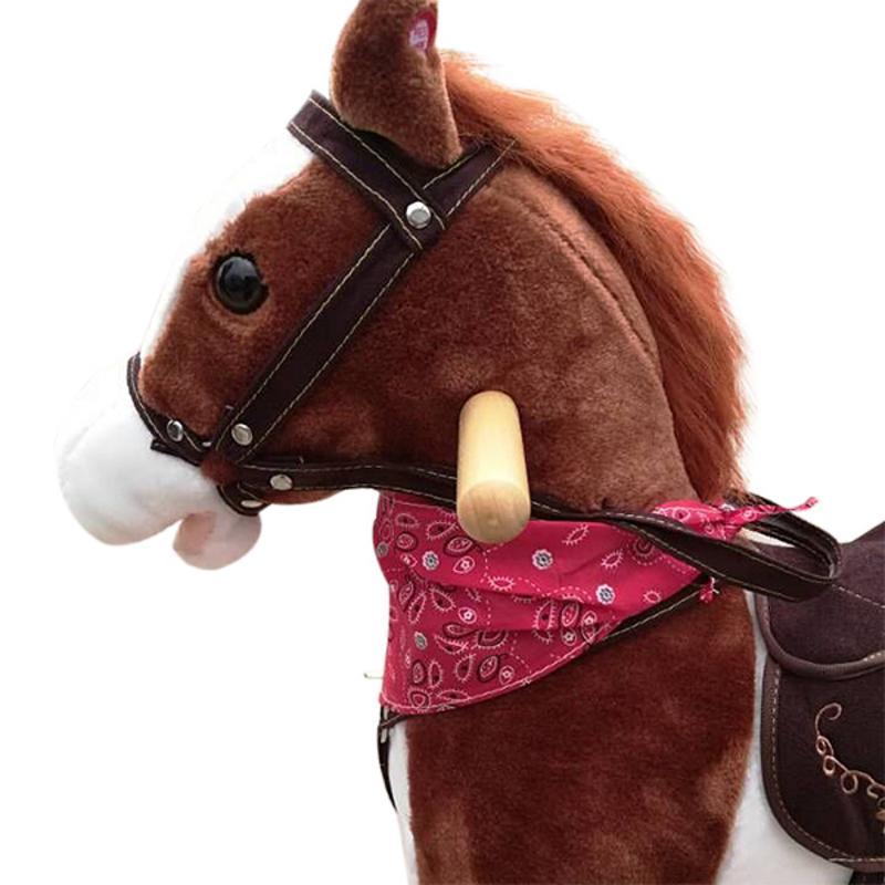 Jouet en bois pour enfants en peluche sur poney cheval à bascule avec son Neigh brun foncé - 3