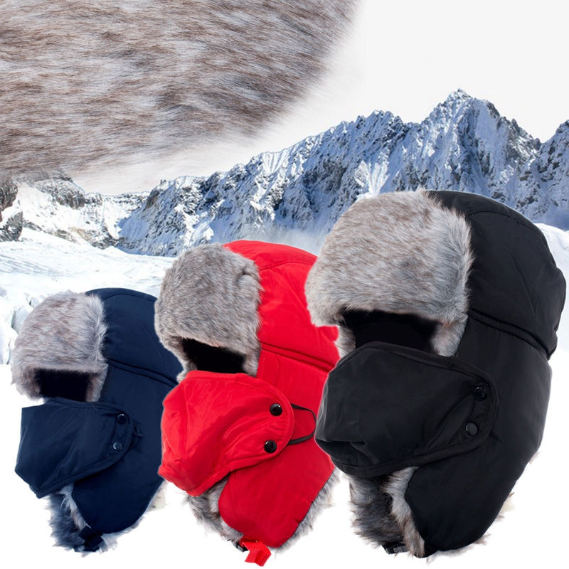 Men Women Winter Trapper Aviator Trooper Earflap Warm Russian Ski Hat Fur Bomber Ski Showerproof