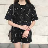 2019 New Summer Women T Shirt Korean Fashion Loose Twelve Constellations Printed Round Neck Embroidery Top Tees