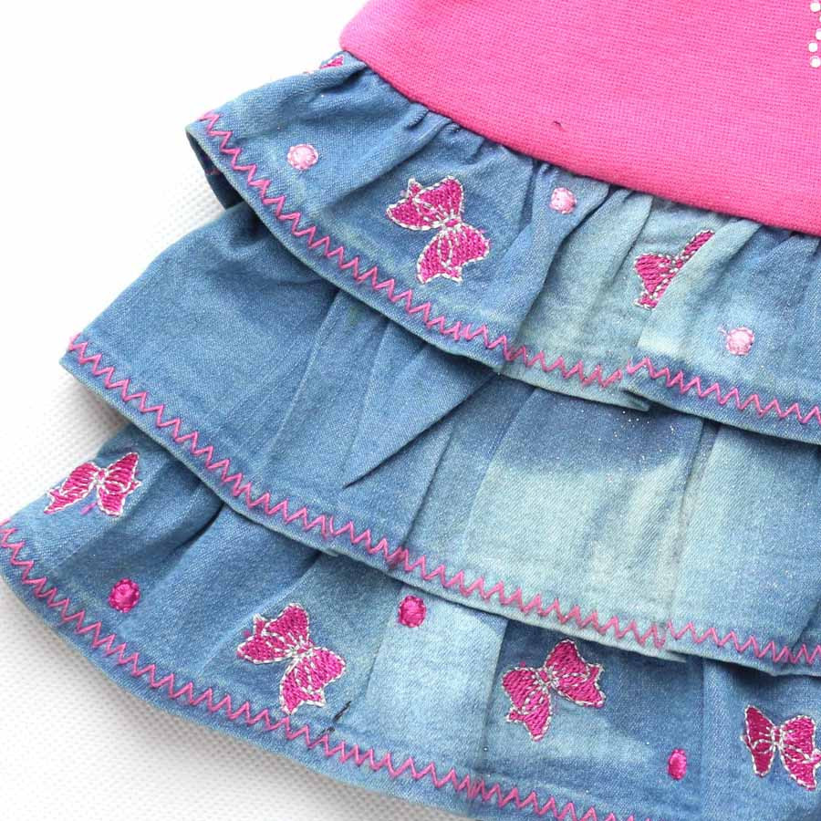 2-8y Kinderen Blauw Denim Rokken Bows Bloemen Borduurwerk Steentjes Jean Kleden Meisjes Roze Party Mini Pluizige Mh2241 Warme Lof Van Klanten Winnen