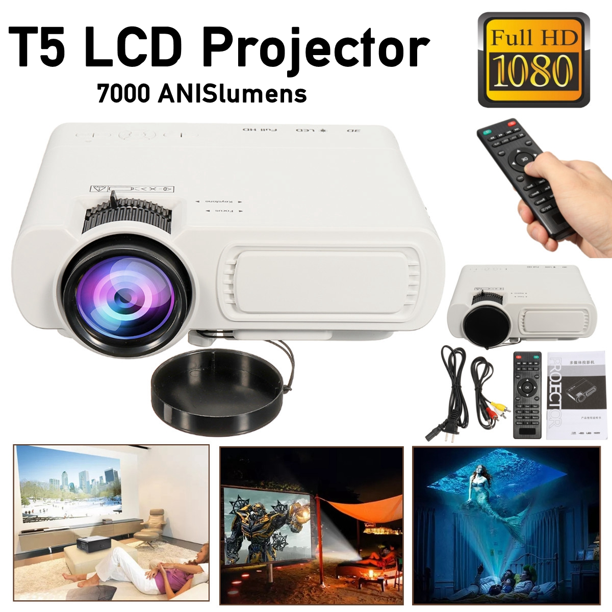 7000LM HD 1080P T5 LCD projector Beamer USB VGA HDMI AV TF For Home Theatre Movie theatre of incest