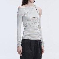 SHENGPALAE Off Shoulder Shirt Female Ruched Irregular Collar Slim Sexy T Shirts Spring 2019 Fashion Womens Elegant Clothing