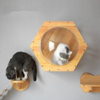 51*44*26CM Space Hexagonal Wooden Cat house Cat jumping platform Pet Creative Toy cattery Pet Climb Frames Cat wall nest CW107