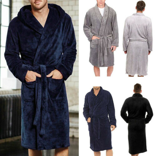 Mens Hooded Soft Warm Bathrobe Fleece Shawl Dressing Gown Robe Sleepwear Pajamas