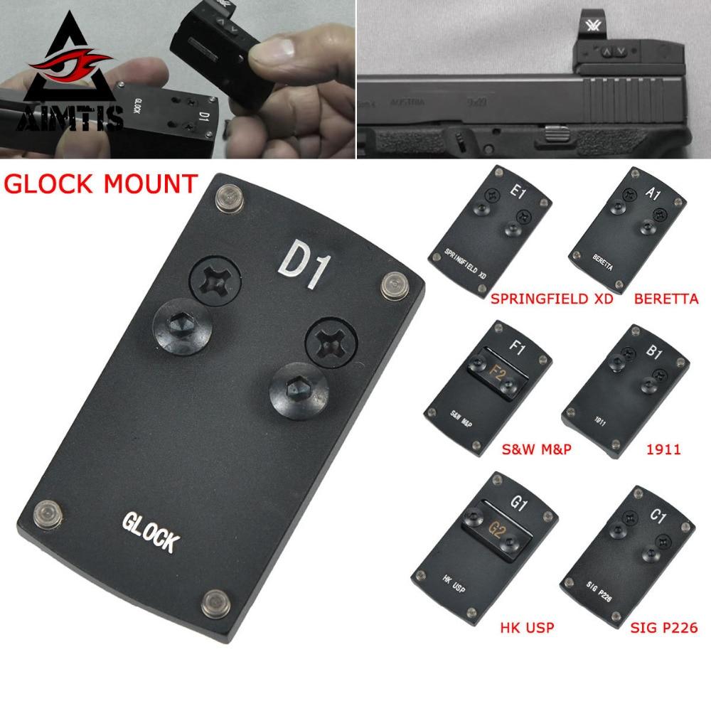 Optics Beretta 92 Glock 17 19 22 1911 Pistol Reflex Sight Mount Adapter Plate for Sightmark Burris Vortex Micro Red Dot Scope