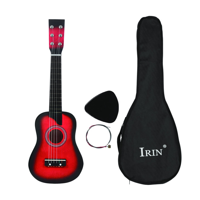 ABGZ-IRIN Mini 25 Inch Basswood Acoustic 12 Frets 6 Strings Guitar with Pick and for Children Red Color