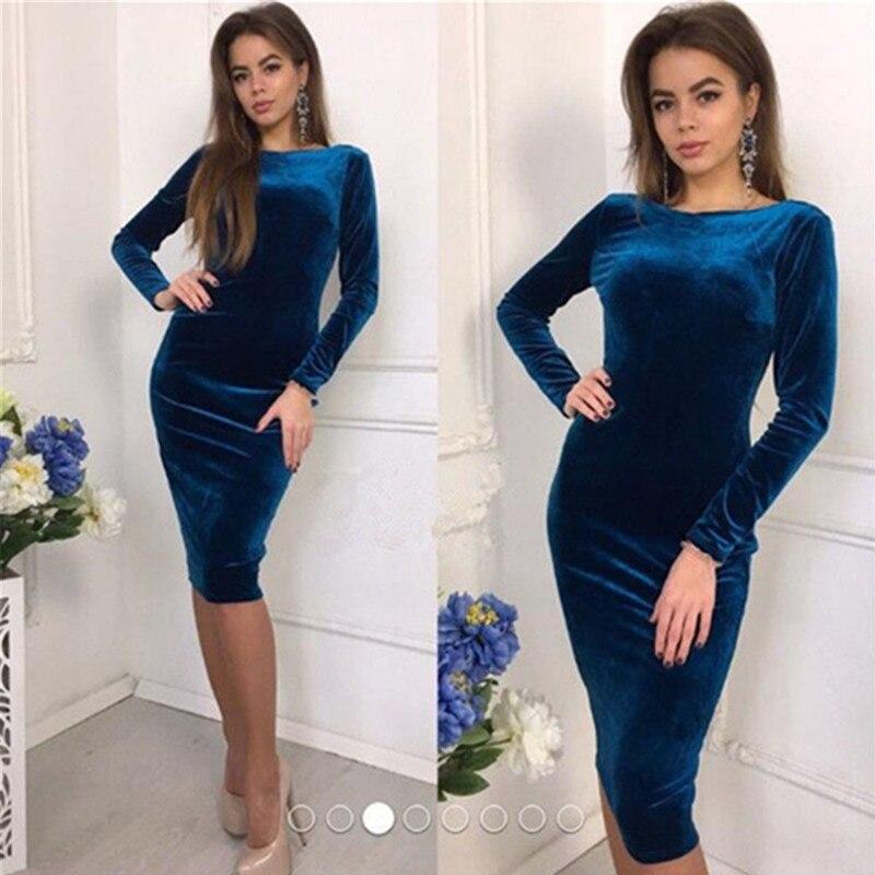 Для женщин с длинным рукавом Весна бархат стрейч миди платье Леди Мода повседневное Вечеринка платья для