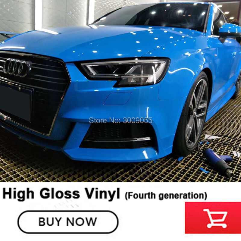 crystal 2019 blue Glossy vinyl foil wrap film blue Sticker With Air Bubble Free Brightest surface Movable No after sales worries