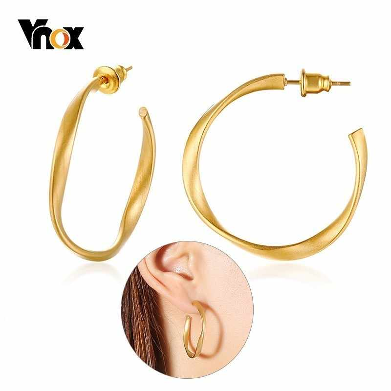 Vnox Twisted Stianless Steel Hoop Earrings for Women Gold Color Matte Surface Female Circle Brincos