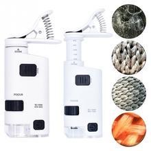 Microscope universel 40 60X/80 120X pour téléphone portable, Identification bijoux, Zoom ajustable, Clip pour téléphone portable avec lumière LED 025