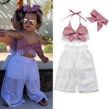 Conjunto de ropa de bebé de 3 piezas, conjunto de verano para niñas, conjunto de camisetas de encaje con lazo + Pantalones, diademas, ropa para niños ropa de bebé
