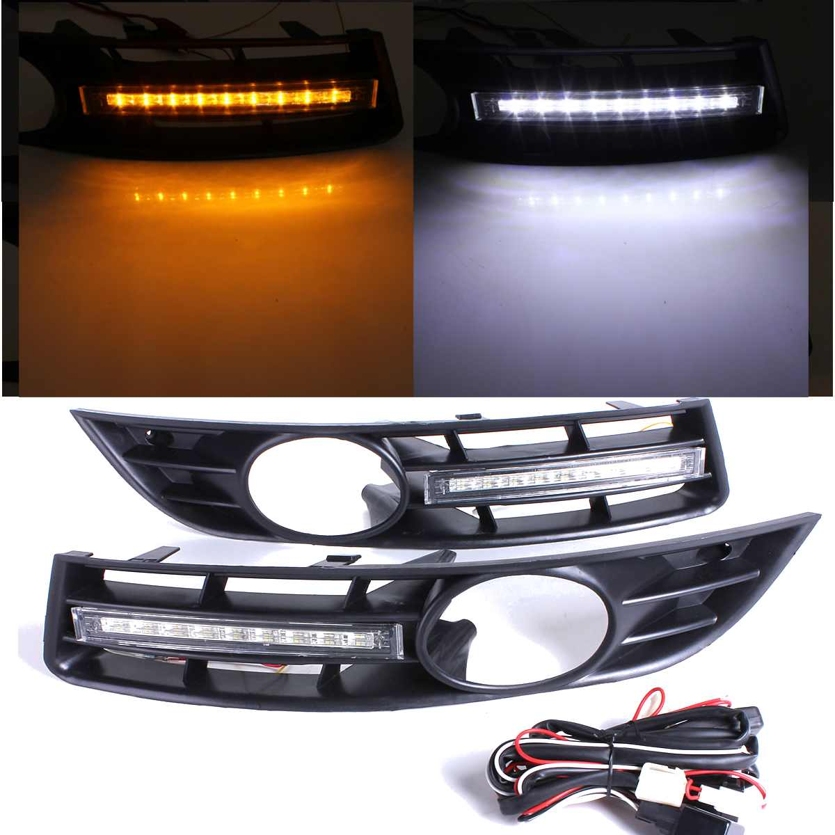 Car LED Light LED DRL Daytime Running Light with grill surround For VW Passat B6 2006
