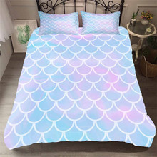寝具セット 3D プリント布団カバーベッドセット海マーメイドホームテキスタイル大人のためのリアルな寝具枕 # MRY11