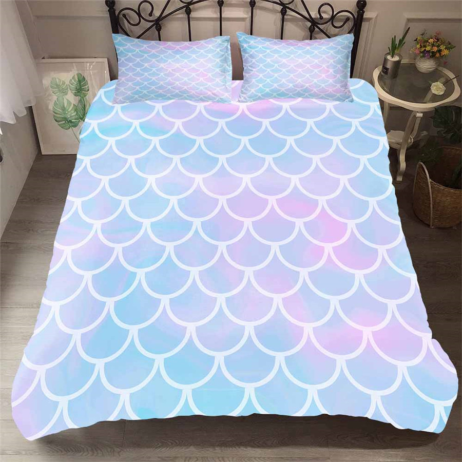 Bedding Set 3D Printed Duvet Cover Bed Set Sea Mermaid Home Textiles for Adults Lifelike Bedclothes with Pillowcase #MRY11-in Bedding Sets from Home & Garden