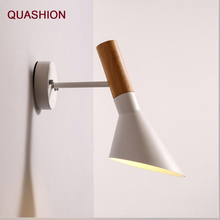 New Design Adjustable Wall Lamp Wooden color Sconce Foldable White black Bedside Lamps Reading Lights Home Lighting E27