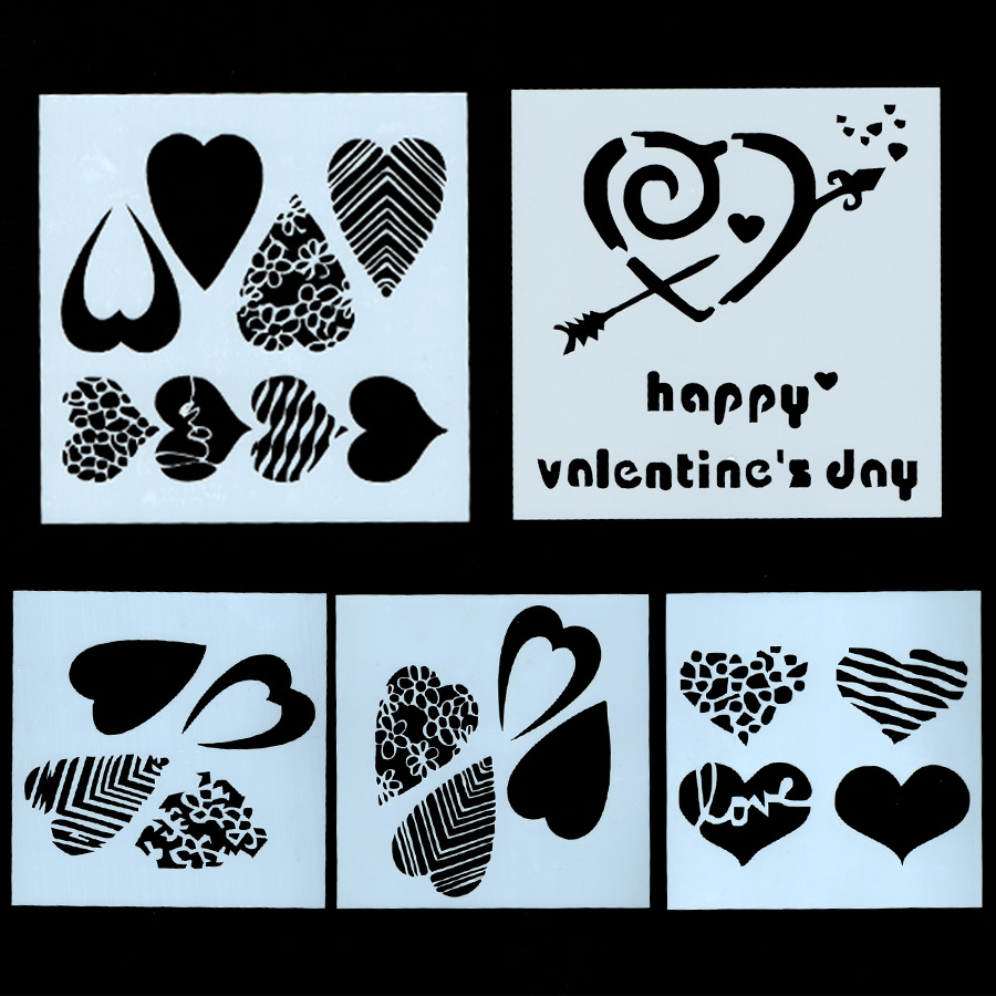 5Pcs/Set 13cm Happy Valentine's Day DIY Craft Layering Stencils Painting Scrapbooking Stamping Embossing Album Card Template