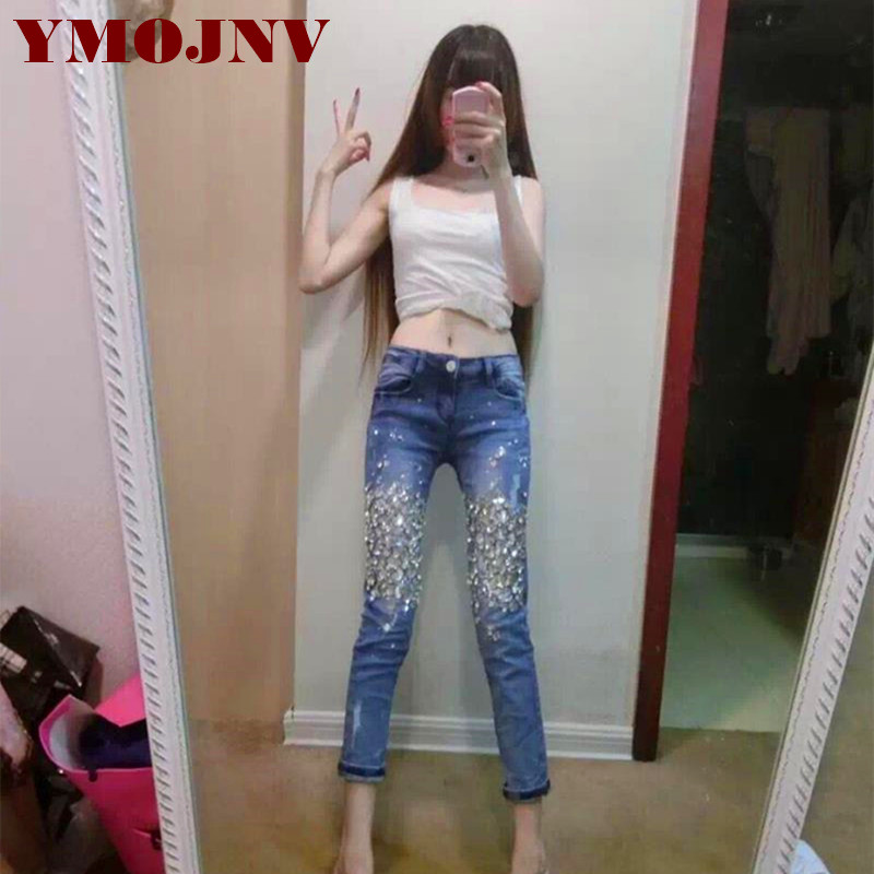 Jeans Women's Clothing Rapture Ymojnv Jeans For Women 2018 Autumn New Luxury Diamond Drilling Denim Pencil Pants Woman Washed Cotton Stretch Tight Jeans Female Selling Well All Over The World