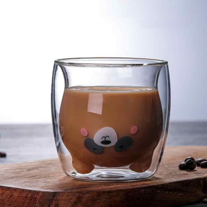 ثلاثية الأبعاد 2-tier جميل الباندا الدب أكواب البيرة مبتكرة مقاومة للحرارة جدار مزدوج فنجان القهوة صباح الحليب كوب عصير الزجاج